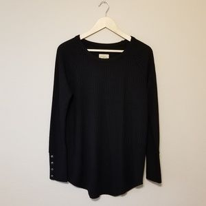 Chaser Waffle Knit Black Soft Top Size Large